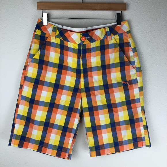 Puma Other - Puma Multi Colored Flat Front Shorts Size 30